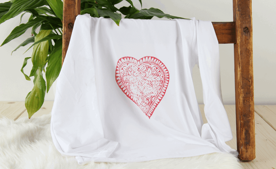 Intricate design on white T-shirt