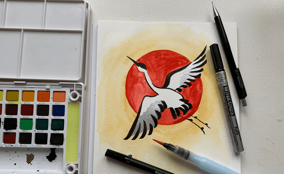 Crane and Red Sun