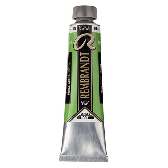 Oil colour Paint Permanent Green Medium (614) 40ml Tube - PackshotFront