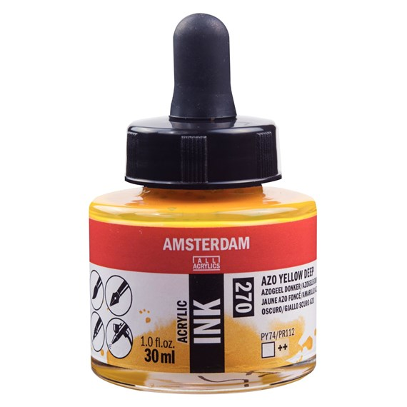 Acrylic Ink Bottle 30 ml Azo Yellow Deep 270 - PackshotFront