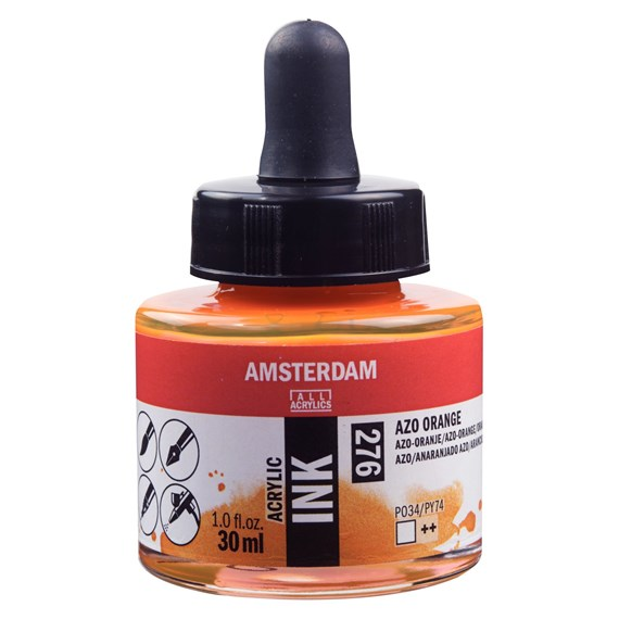 Acrylic Ink Bottle 30 ml Azo Orange 276 - PackshotFront