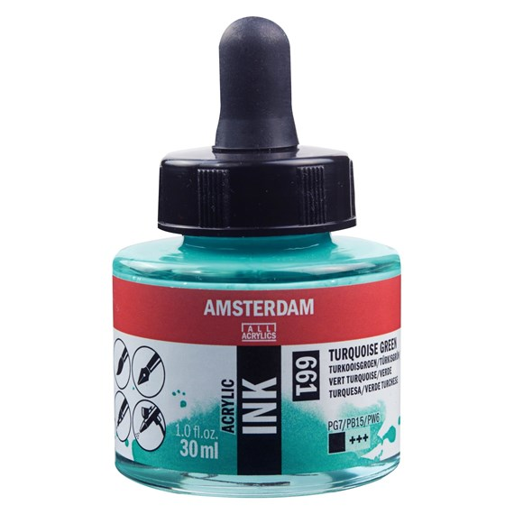 Acrylic Ink Bottle 30 ml Turquoise Green 661 - PackshotFront