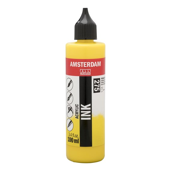 Acrylic Ink Bottle 100 ml Primary Yellow 275 - PackshotFront