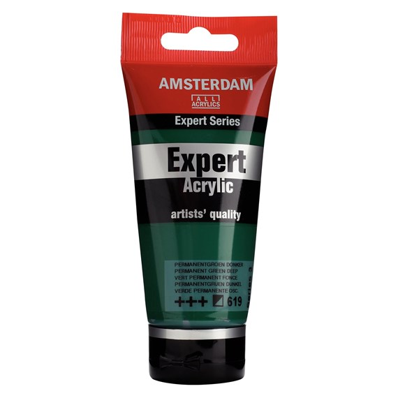Expert Series Acrylic Tube 75 ml Permanent Green Deep 619 - PackshotFront