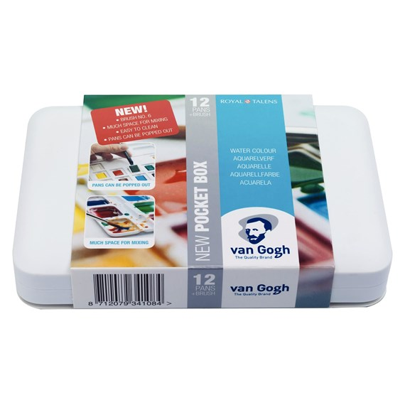 Water Colour Pocket Box Basic Colours with 12 Colours in Half Pans - PackshotFront