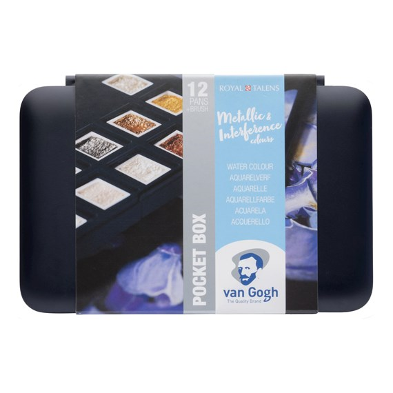 Water Colour Pocket Box Specialty Colours with 12 Colours in Half Pans - PackshotFront