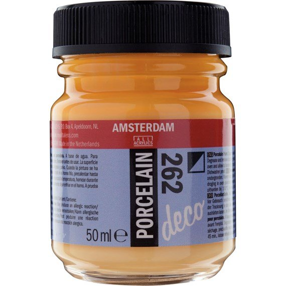 Porcelain Paint Bottle 50 ml Gold Yellow Opaque 262 - PackshotFront