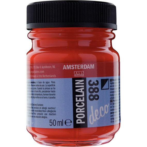 Porcelain Paint Bottle 50 ml Bright Red Opaque 388 - PackshotFront