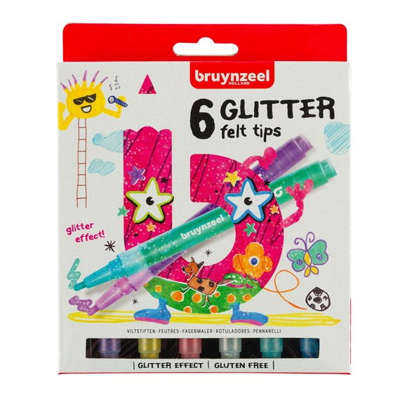Kids Glitter Felt Tips Set 6 - PackshotFront