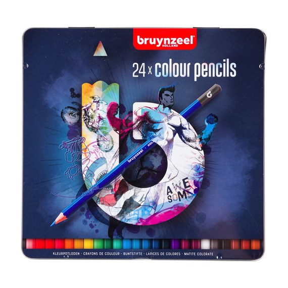 Tin 24 Colour Pencils Dark - PackshotFront