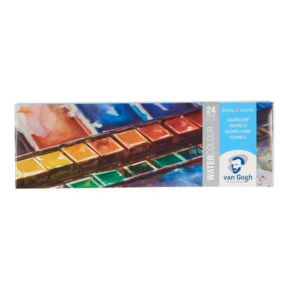Water Colour Metal Case Set with 24 Colours in Half Pans - PackshotFront