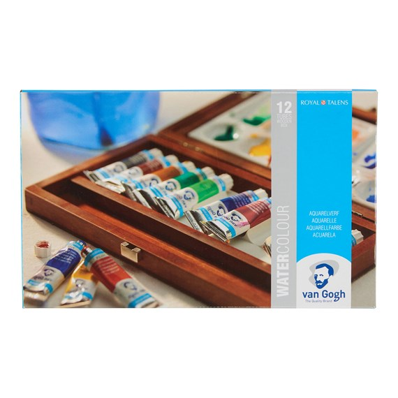 Water Colour Wooden Box Set with 12 Colours in 10ml Tube + 3 Accessories - PackshotFront