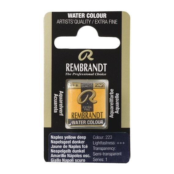 Professional Watercolour Paint, Half Pan, Naples Yellow Deep 223 - PackshotFront