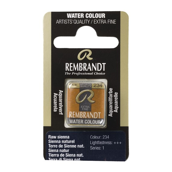 Professional Watercolour Paint, Half Pan, Raw Sienna 234 - PackshotFront