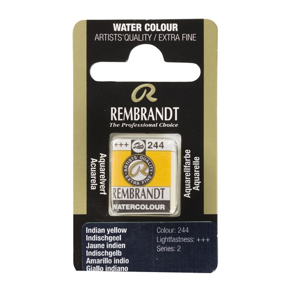 Professional Watercolour Paint, Half Pan, Indian Yellow 244 - PackshotFront