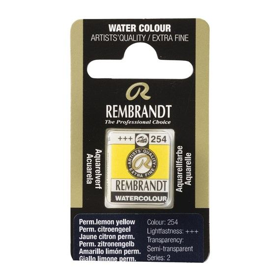 Professional Watercolour Paint, Half Pan, Permanent Lemon Yellow 254 - PackshotFront