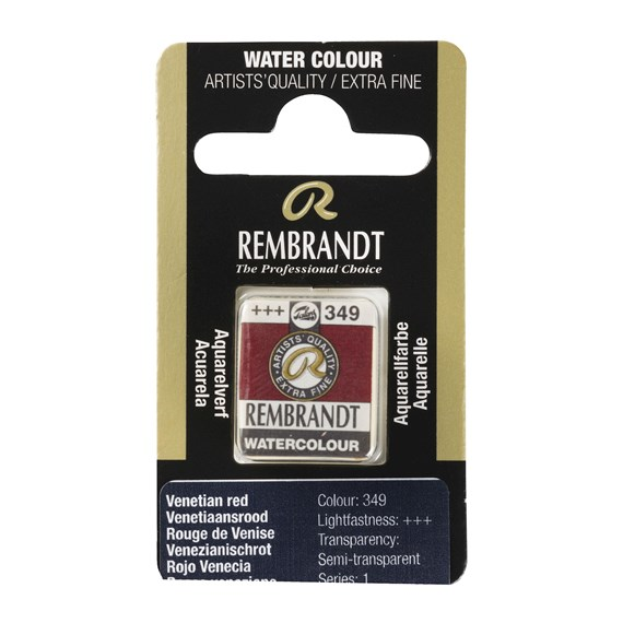 Professional Watercolour Paint, Half Pan, Venetian Red 349 - PackshotFront