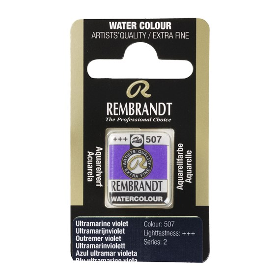 Professional Watercolour Paint, Half Pan, Ultramarine Violet 507 - PackshotFront
