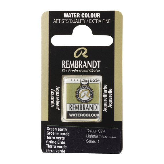 Professional Watercolour Paint, Half Pan, Green Earth Terre Verte 629 - PackshotFront