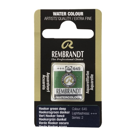 Professional Watercolour Paint, Half Pan, Hooker Green Deep 645 - PackshotFront