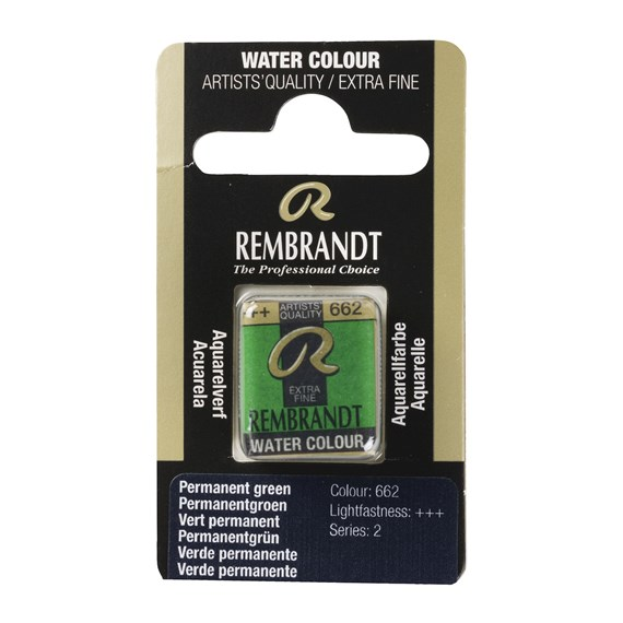 Professional Watercolour Paint, Half Pan, Permanent Green 662 - PackshotFront