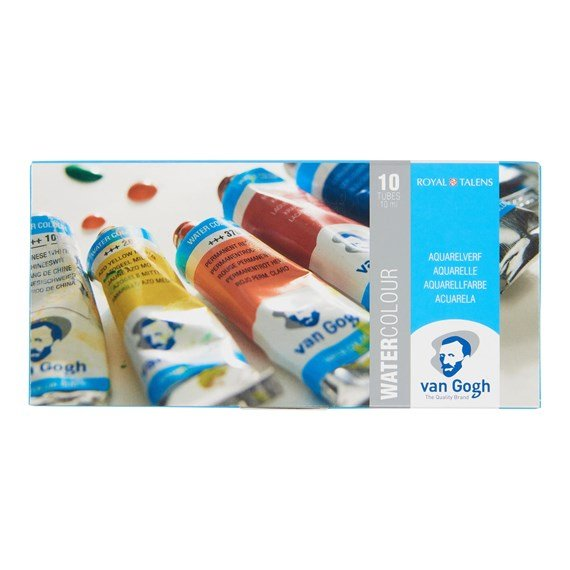 Water Colour Set with 10 Colours in 10ml Tube - PackshotFront