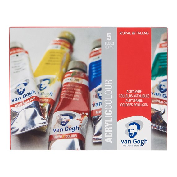 Acrylic Colour Starter Set with 5 Colours in 40ml Tube - PackshotFront