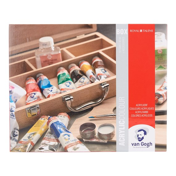 Acrylic Colour Wooden Box Basic with 10 Colours in 40ml Tube + Accessories - PackshotFront