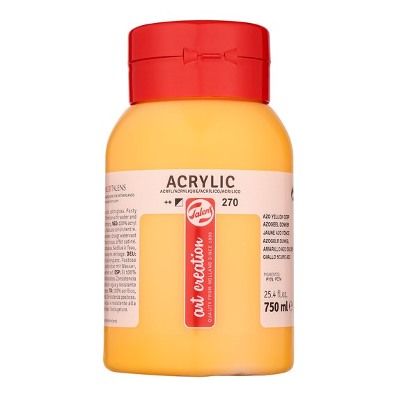 Acrylic Colour Bottle 750 ml Azo Yellow Lemon 270 - PackshotFront