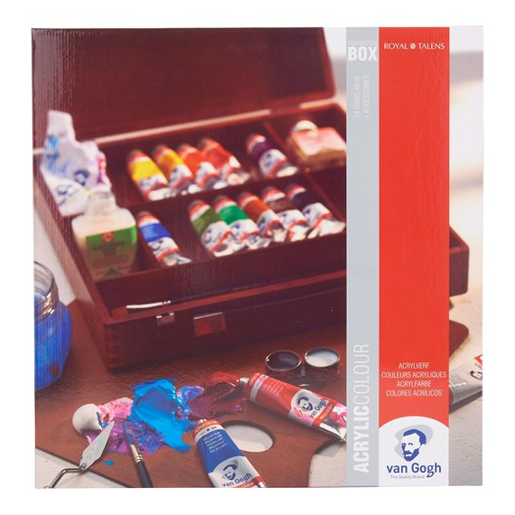 Acrylic Colour Wooden Box Inspiration with 14 Colours in 40ml Tube + Accessories - PackshotFront