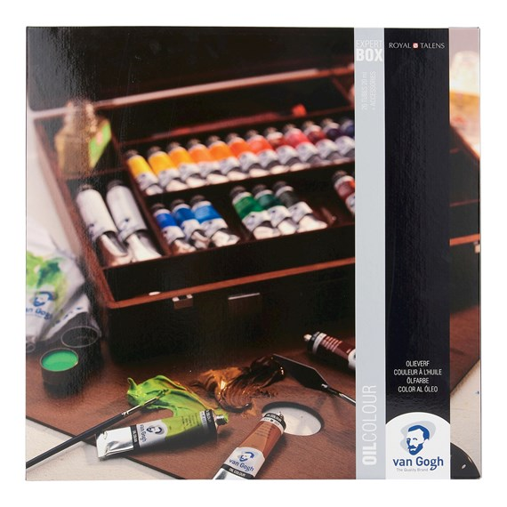 Oil Colour Wooden Box Set Expert with 24 Colours in 20ml Tube and 2 Colours in 60ml Tube + Accessories - PackshotFront