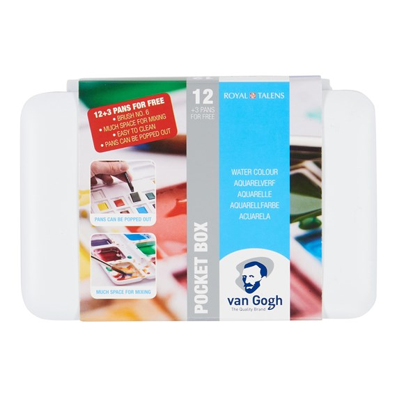 Aquarelverf pocket box Basic Colours met 12 kleuren in halve napjes + 3 gratis kleuren - PackshotFront