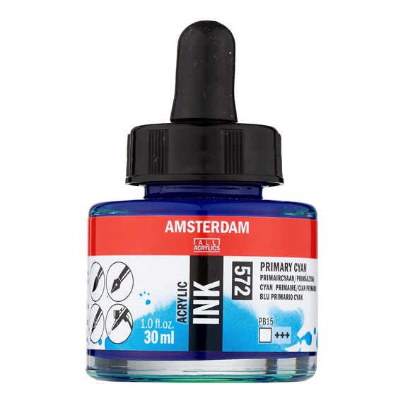 Acrylic Ink Bottle 30 ml Primary Cyan 572 - PackshotFront