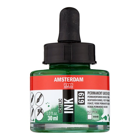 Acrylic Ink Bottle 30 ml Permanent Green Deep 619 - PackshotFront
