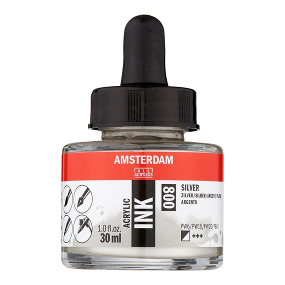 Acrylic Tinte Flasche 30 ml Silber 800 - PackshotFront