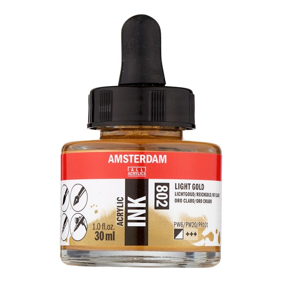 Acrylic Ink Bottle 30 ml Light Gold 802 - PackshotFront