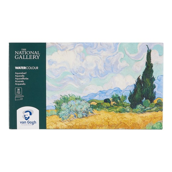 The National Gallery Water Colour Plastic Case Set with 18 Colours in Half Pans and 2 Colours in 10ml Tube - PackshotFront