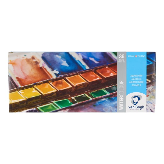 Water Colour Metal Case Set with 36 Colours in Half Pans + 1 Brush - PackshotFront