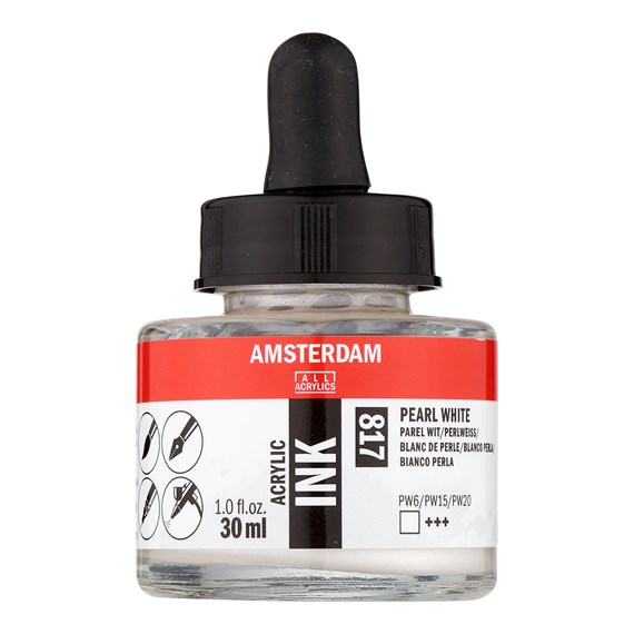 Acrylic Ink Bottle 30 ml Pearl White 817 - PackshotFront