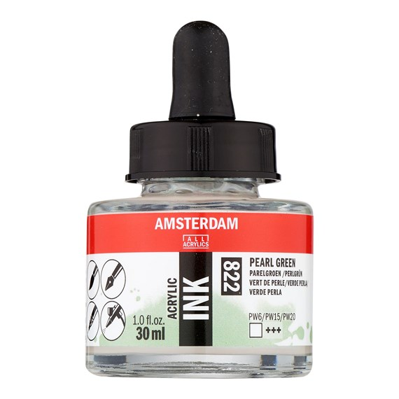 Acrylic Ink Bottle 30 ml Pearl Green 822 - PackshotFront