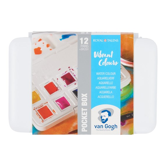 Water Colour Pocket Box Vibrant Colours with 12 Colours in Half Pans - PackshotFront