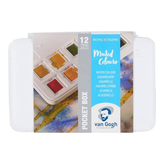 Water Colour Pocket Box Muted Colours with 12 Colours in Half Pans - PackshotFront