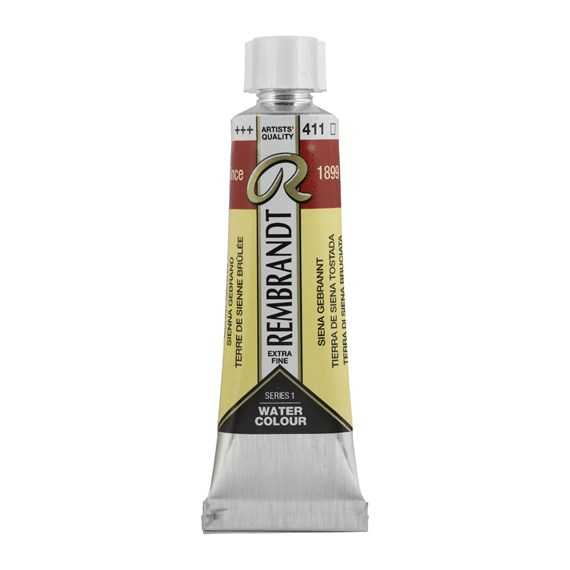 Professional Watercolour Paint, 10ml Tube, Burnt Sienna 411 - PackshotFront