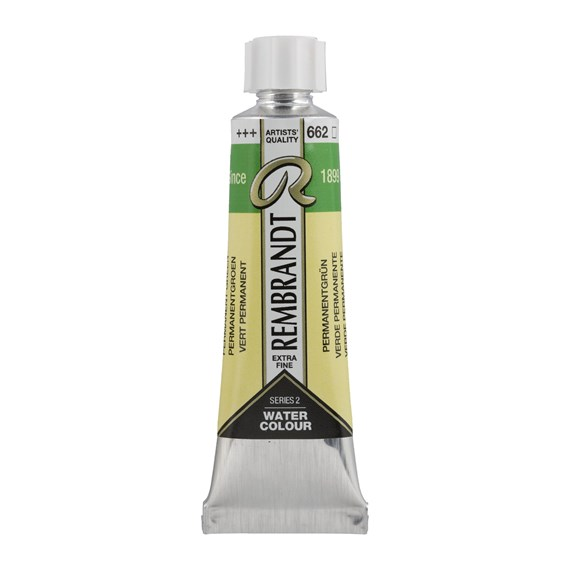 Professional Watercolour Paint, 10ml Tube, Permanent Green 662 - PackshotFront
