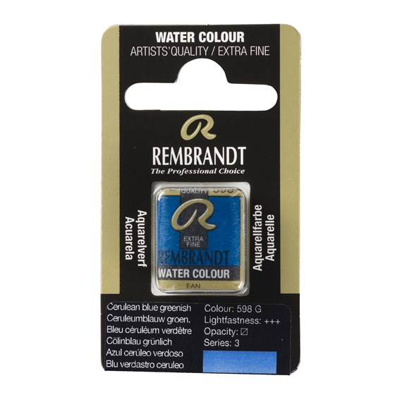 Water Colour Pan Cerulean Blue Greenish 598 - PackshotFront