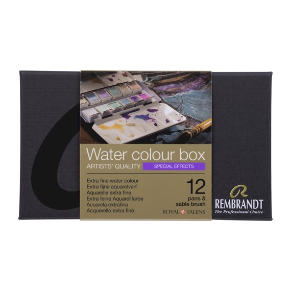 Professional Watercolour Paint, Metal Tin Set, 12 Pans + 1 Brush, Special Effects colour Selection (Interference, Chameleon, Spark) - PackshotFront