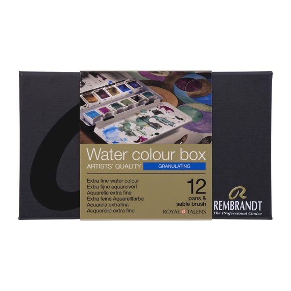 Professional Watercolour Paint, Metal Tin Set, 12 Pans + 1 Brush, Granulating colour Selection - PackshotFront