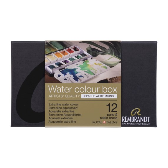 Professional Watercolour Paint, Metal Tin Set, 12 Pans + 1 Brush, Opaque White Mixing colour Selection - PackshotFront