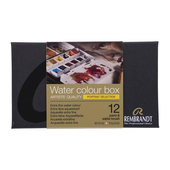 Professional Watercolour Paint, Metal Tin Set, 12 Pans + 1 Brush, Portrait colour Selection - PackshotFront