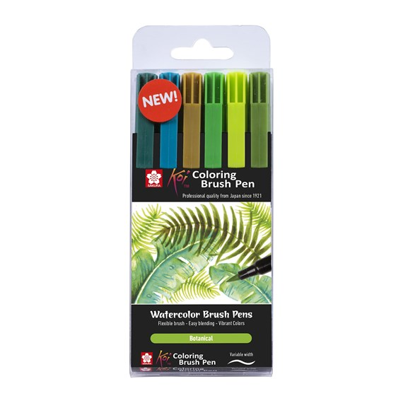 Koi coloring brush pen set 6 Botanical - PackshotFront